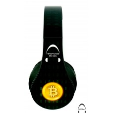 Bitcoin (Green Binary) Over-Ear Bluetooth Wireless Headphones