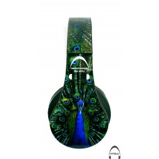 Peacock Print Over-Ear Bluetooth Wireless Headphones