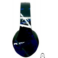 Dark Blue Strike Abstract Pattern Over-Ear Bluetooth Wireless Headphones