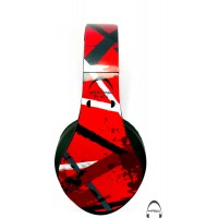Red Strike Abstract Pattern Over-Ear Bluetooth Wireless Headphones